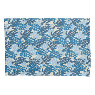 Honu Sea Turtle Hawaiian Aloha Reversible Indigo Pillowcase