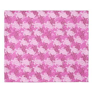 Honu Sea Turtle Hawaiian Aloha Reversible Pink Duvet Cover