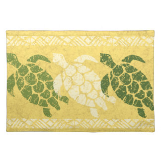 Honu Sea Turtle Hawaiian Batik - Banana and Olive Placemat