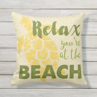 Honu Sea Turtle Hawaiian Relax Beach Reversible Outdoor Pillow