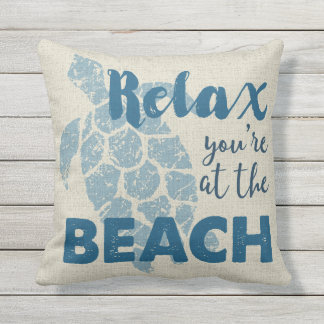 Honu Sea Turtle Hawaiian Relax Beach Reversible Throw Pillow