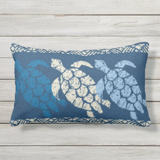 Honu Sea Turtle Hawaiian Reversible Batik - Indigo Lumbar Pillow