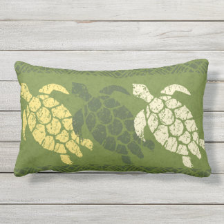 Honu Sea Turtle Hawaiian Reversible Batik - Olive Lumbar Pillow