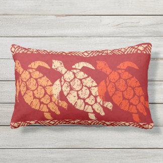 Honu Sea Turtle Hawaiian Reversible Batik - Red Lumbar Pillow
