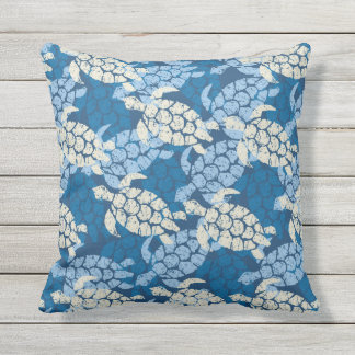 Honu Sea Turtle Hawaiian Reversible Outdoor Indigo Throw Pillow