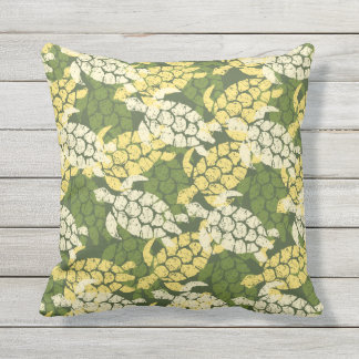 Honu Sea Turtle Hawaiian Reversible Outdoor Olive Throw Pillow