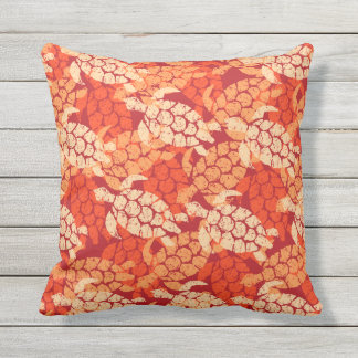 Honu Sea Turtle Hawaiian Reversible Outdoor Orange Outdoor Pillow