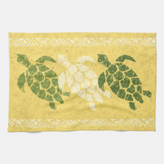 Honu Sea Turtle Hawaiian Tapa Batik -Banana Kitchen Towel