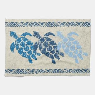 Honu Sea Turtle Hawaiian Tapa Batik -Indigo Kitchen Towel