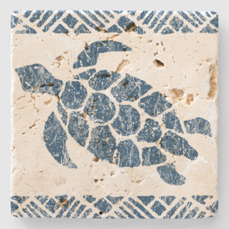 Honu Sea Turtle Hawaiian Tapa -Indigo Stone Coaster
