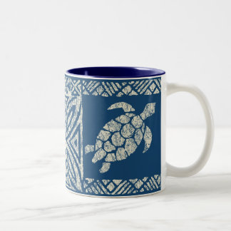 Honu Sea Turtle Hawaiian Tapa -Indigo Two-Tone Coffee Mug