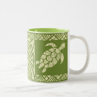 Honu Sea Turtle Hawaiian Tapa -Olive Two-Tone Coffee Mug