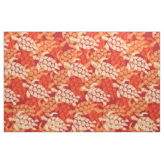 Honu Sea Turtle Hawaiian Tapa -Orange Fabric