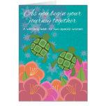 Honu Sea Turtles Lesbian Wedding Congratulations Greeting Card