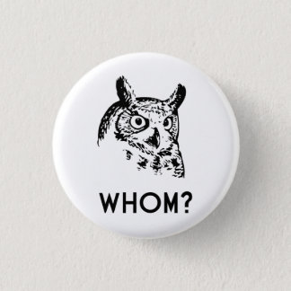 Hoo Who Whom Grammar Owl 1 Inch Round Button