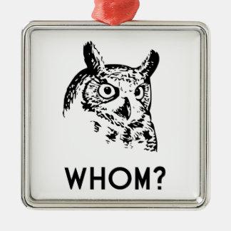 Hoo Who Whom Grammar Owl Silver-Colored Square Ornament