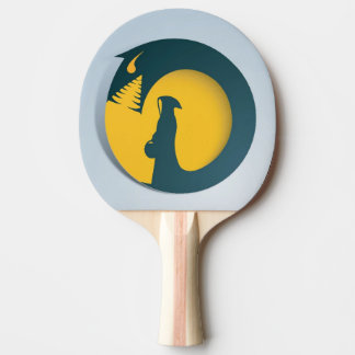 Hooded Figure with Monster Shadow Ping Pong Paddle