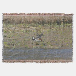 Hooded Merganser in flight Throw Blanket