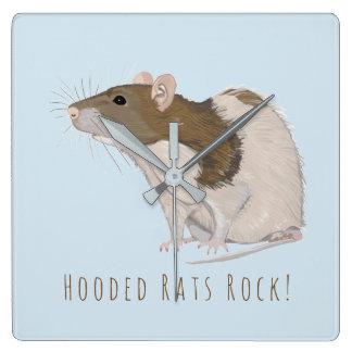 Hooded Rats Rock Agouti Hooded Rat Square Wall Clock