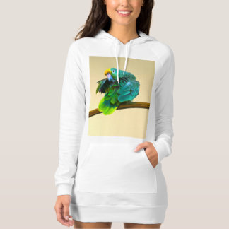 Hoodie Dress Photo of Green Parrot with Attitude