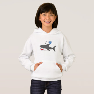 Hoodie with cute I love sharks design