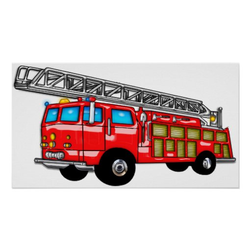 Hook and Ladder Fire Engine Poster