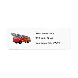 Hook and Ladder Fire Engine Return Address Label