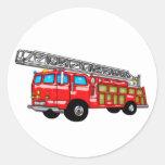 Hook and Ladder Fire Engine Round Sticker
