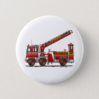Hook and Ladder Fire Truck 2 Inch Round Button