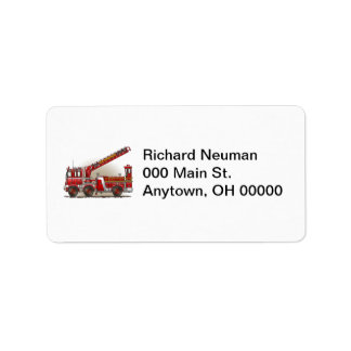 Hook and Ladder Fire Truck Address Label