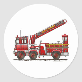 Hook and Ladder Fire Truck Round Sticker