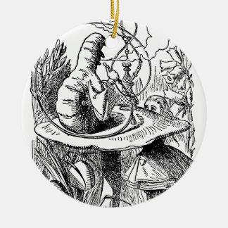 Hookah Smoking Caterpillar Alice in Wonderland Ceramic Ornament