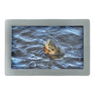 Hooked Bluegill Sun Fish Gone Fishin' Art Rectangular Belt Buckles