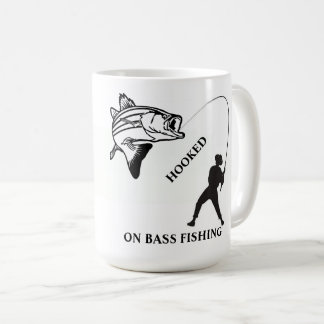 HOOKED ON BASS FISHING COFFEE MUG