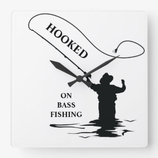 HOOKED ON BASS FISHING SQUARE WALL CLOCK