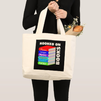 Hooked On Books Book Lovers Novelty Large Tote Bag