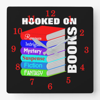 Hooked On Books Book Lovers Novelty Personalized Square Wall Clock