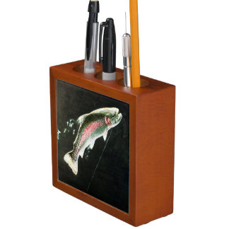 Hooked Rainbow Trout Fish Desk Organizer