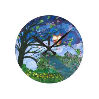 "Hoolandia (c) 2013 – Owl Seasons ""Spring"" Round Clock"