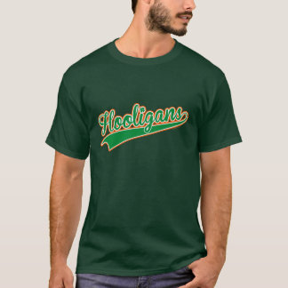 Hooligans Baseball Script Irish Shamrock Tricolour T-Shirt