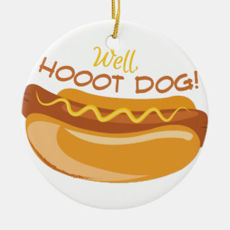 Hoooot Dog Ceramic Ornament