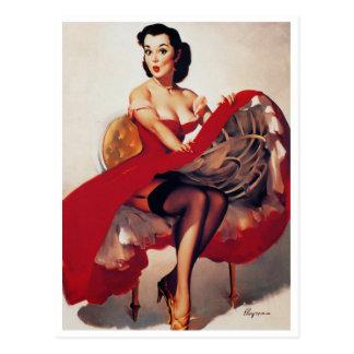 Hoop Skirt Pin Up Postcard