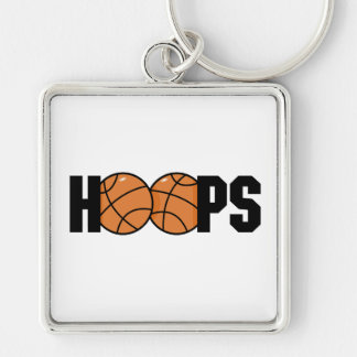hoops basketball design Silver-Colored square keychain