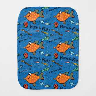 Hooray For Fish Pattern Baby Burp Cloth