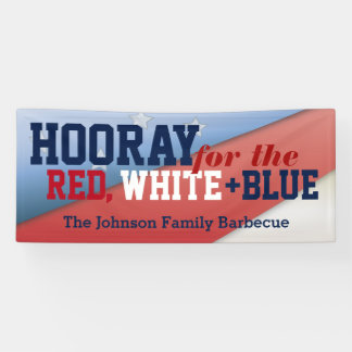 Hooray for July 4th Patriotic Flag Barbecue Banner