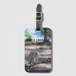 Hoo's Luggage? Great Horned Owl Luggage Tag