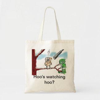 Hoo's watching hoo? tote bag