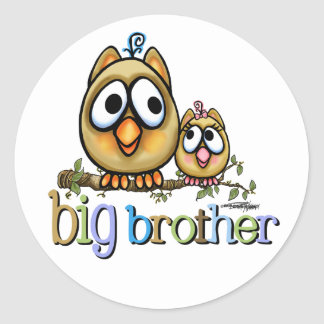 Hoot for Big Brother - Baby Sis Round Sticker