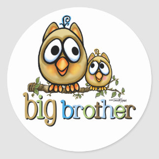 Hoot for Big Brother Round Stickers