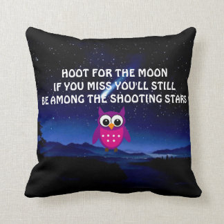 HOOT for the Moon Owl Throw Pillow